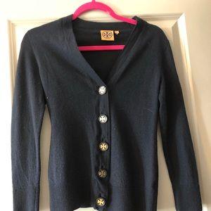 Tory Burch Navy Madeline Merino Wool Cardigan